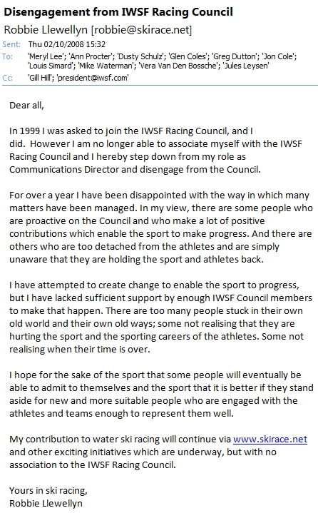 Resignation from IWSF