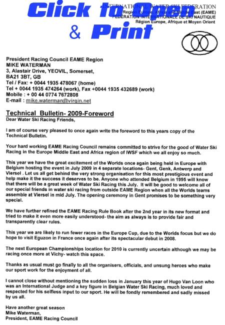 EAME Racing Technical Bulletin 2009