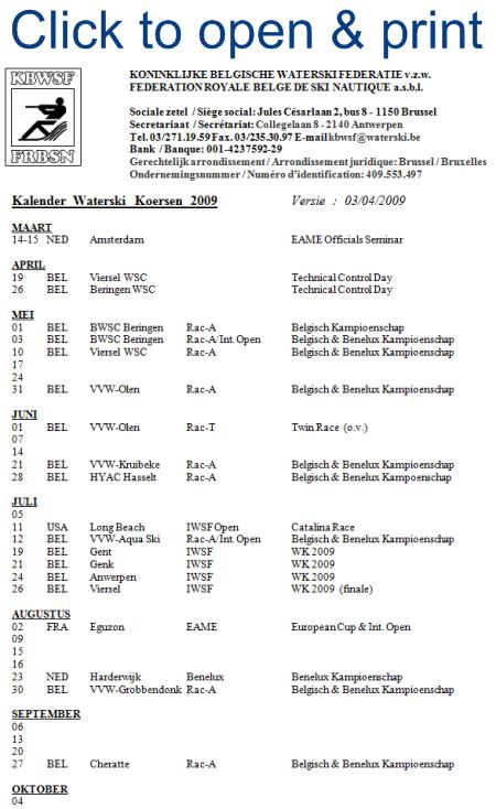 2009 Belgian Water Ski Racing Calendar