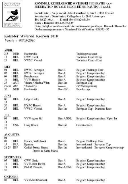 KBWSF – Belgian Racing Calendar 2010